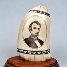 American Scrimshaw Whale Tooth, Lincoln Portrait