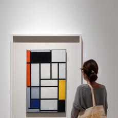 Composition with Red, Black, Yellow, Blue and Gray (1921) by Piet Mondrian © Museo Picasso Málaga