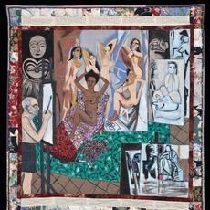 Faith Ringgold, Picasso's Studio, 1991, Acrylic on canvas with printed and tie-dyed fabric, 73 x 68 in., Worcester Art Museum, MA, Charlotte E.  W.  Buffington Fund, © 2020 Faith Ringgold / Artists Rights Society (ARS), New York, Courtesy ACA Galleries, New York
