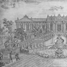 Rendering of the Old Summer Palace showing the famed 12 bronze heads representing Chinese zodiac animals.