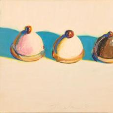 Wayne Thiebaud, Three Treats, 1975-76.  Oil on panel, 10 1/2 x 11 7/8 in.  (26.7 x 30.2 cm).  Fine Arts Collection, Jan Shrem and Maria Manetti Shrem Museum of Art, University of California, Davis.  Promised gift of Betty Jean and Wayne Thiebaud.  © 2020 Wayne Thiebaud / Licensed by VAGA at Artists Rights Society (ARS), NY.