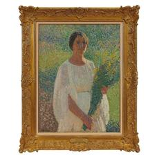 LOT 30: Henri Martin Femme au Fleurs (Woman with Flowers), circa 1903.  Estimate $20,000-30,000