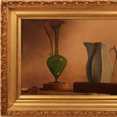 HARRY WATROUS (AMERICAN 1857 - 1940) PITCHER, VASE AND SEASHELLS Oil on board, 11.5 x 18 inches / Signed lower left