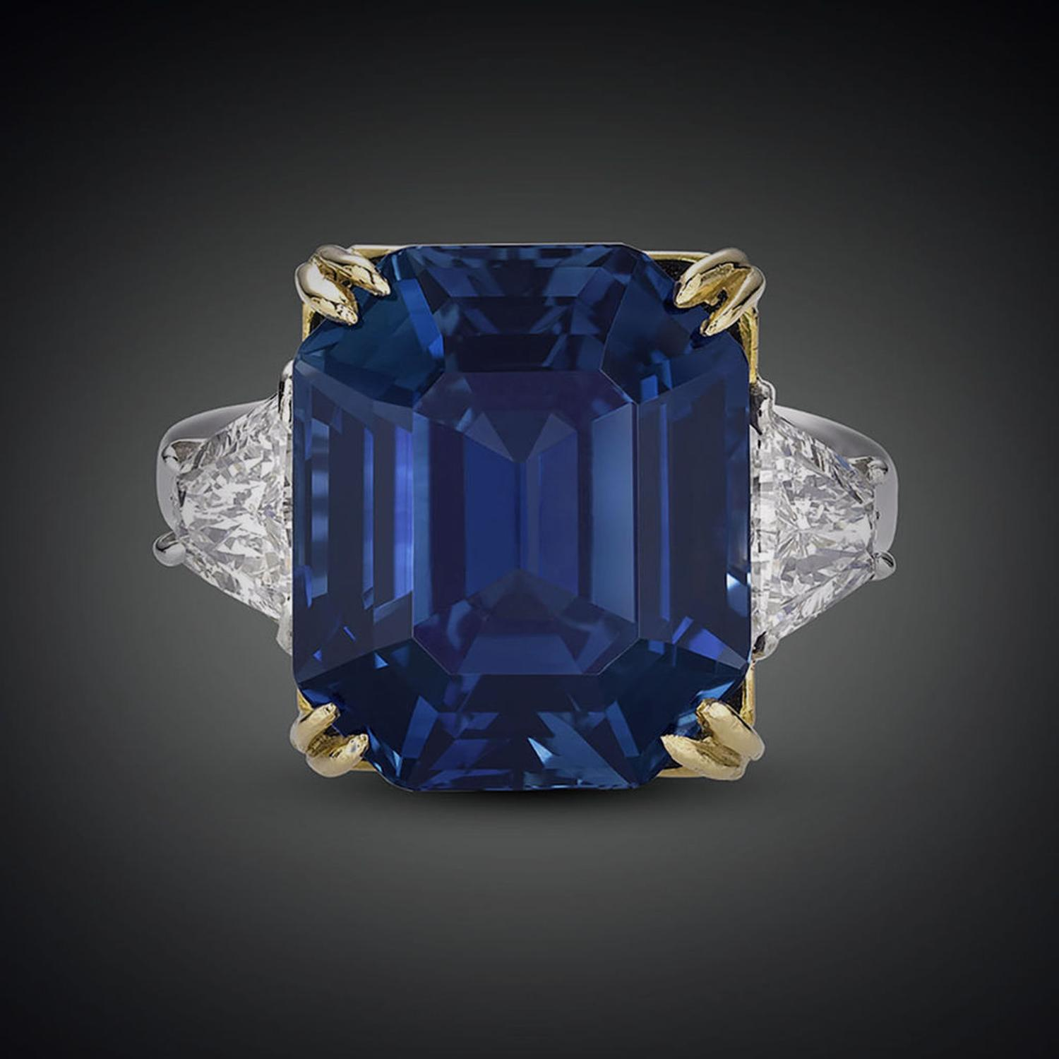 sapphire gold rare deco vintage double antique engagement art ring