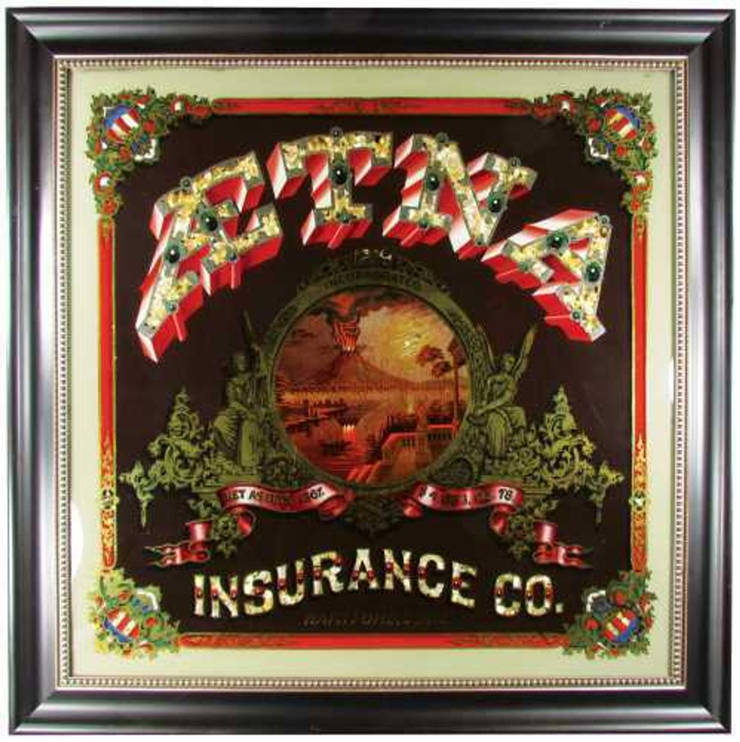Aetna Insurance Company Reverse Glass Painted Sign Brings