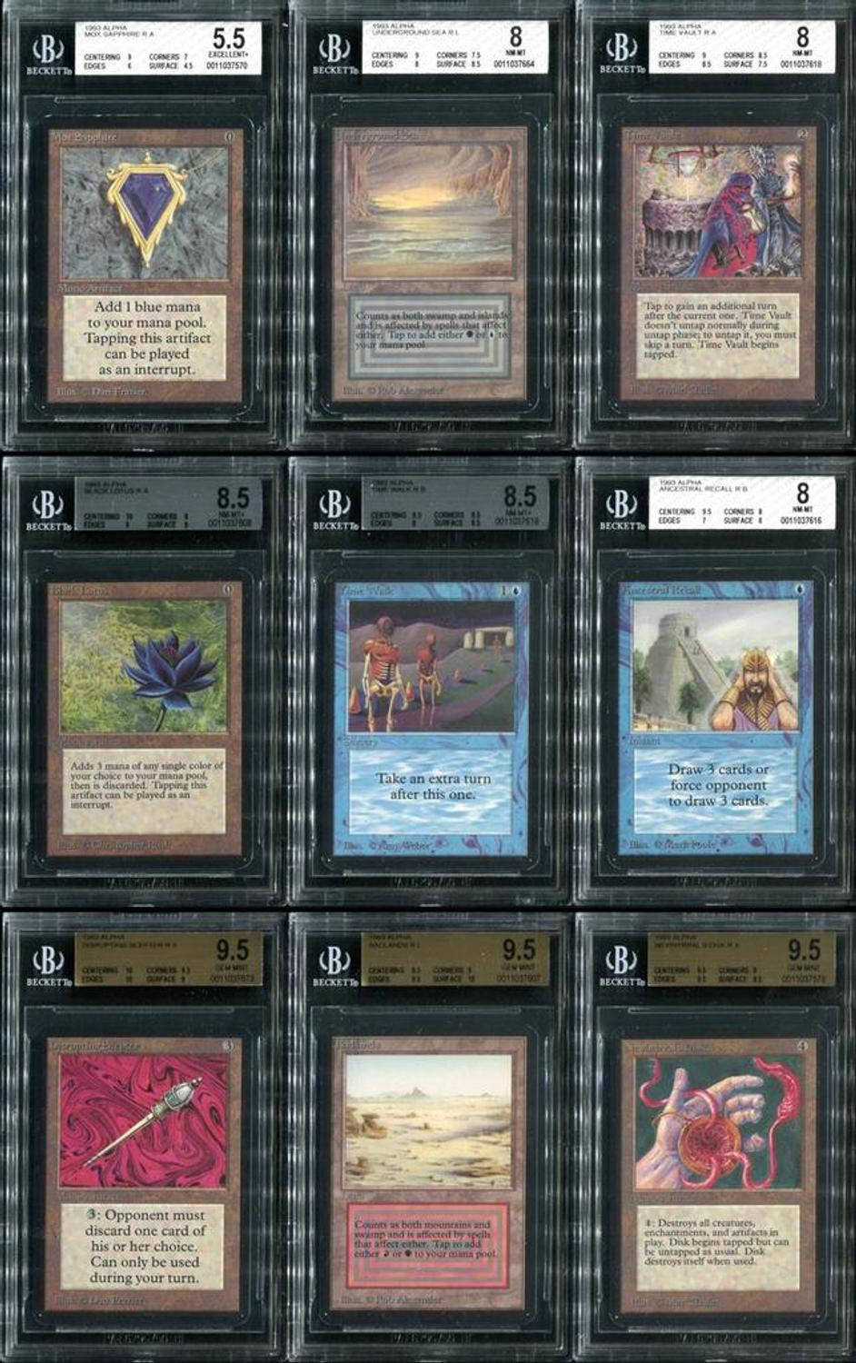 three complete sets of 1993 magic the gathering cards