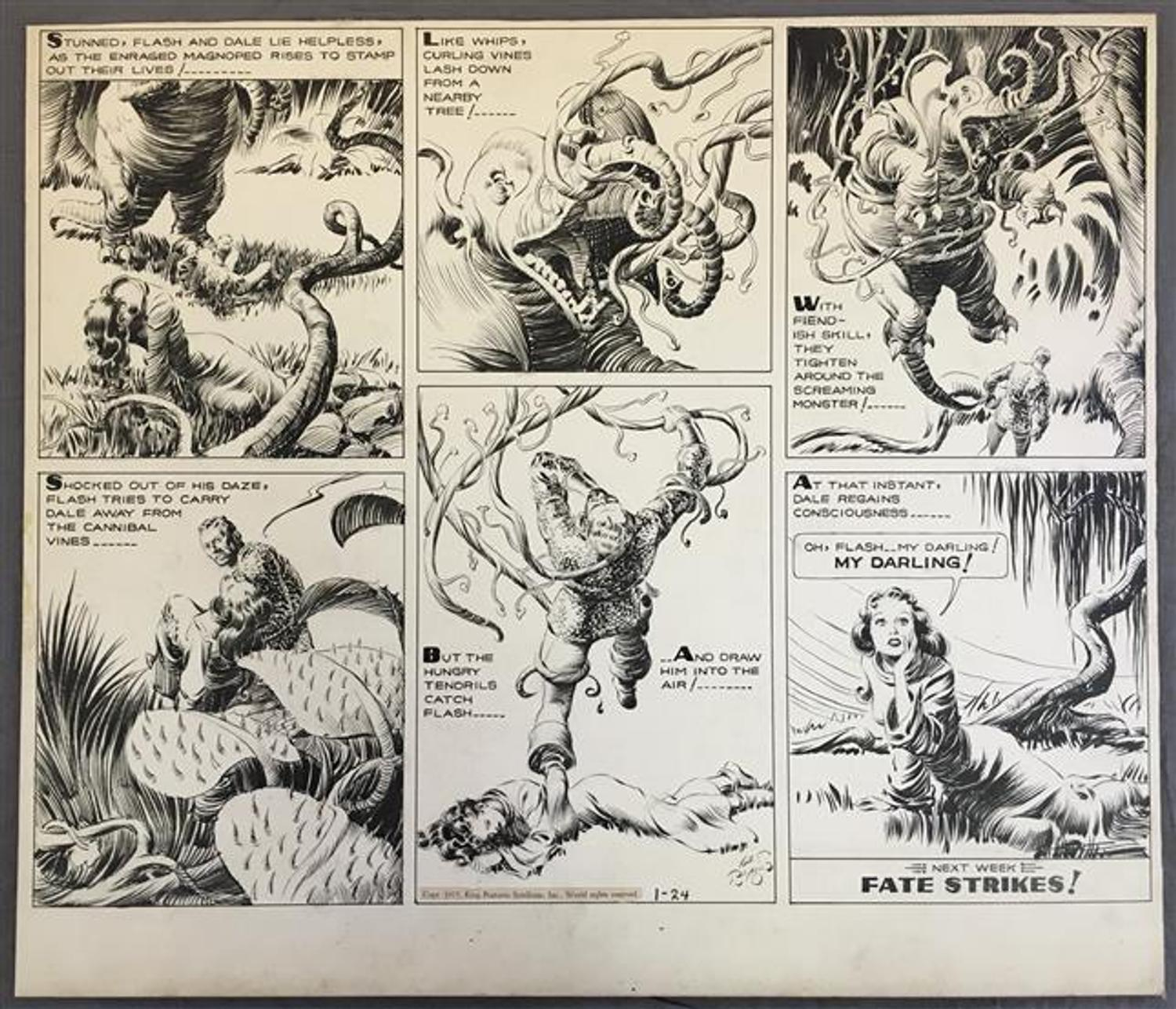 Original Sunday page artwork for a Flash Gordon comic strip from ...
