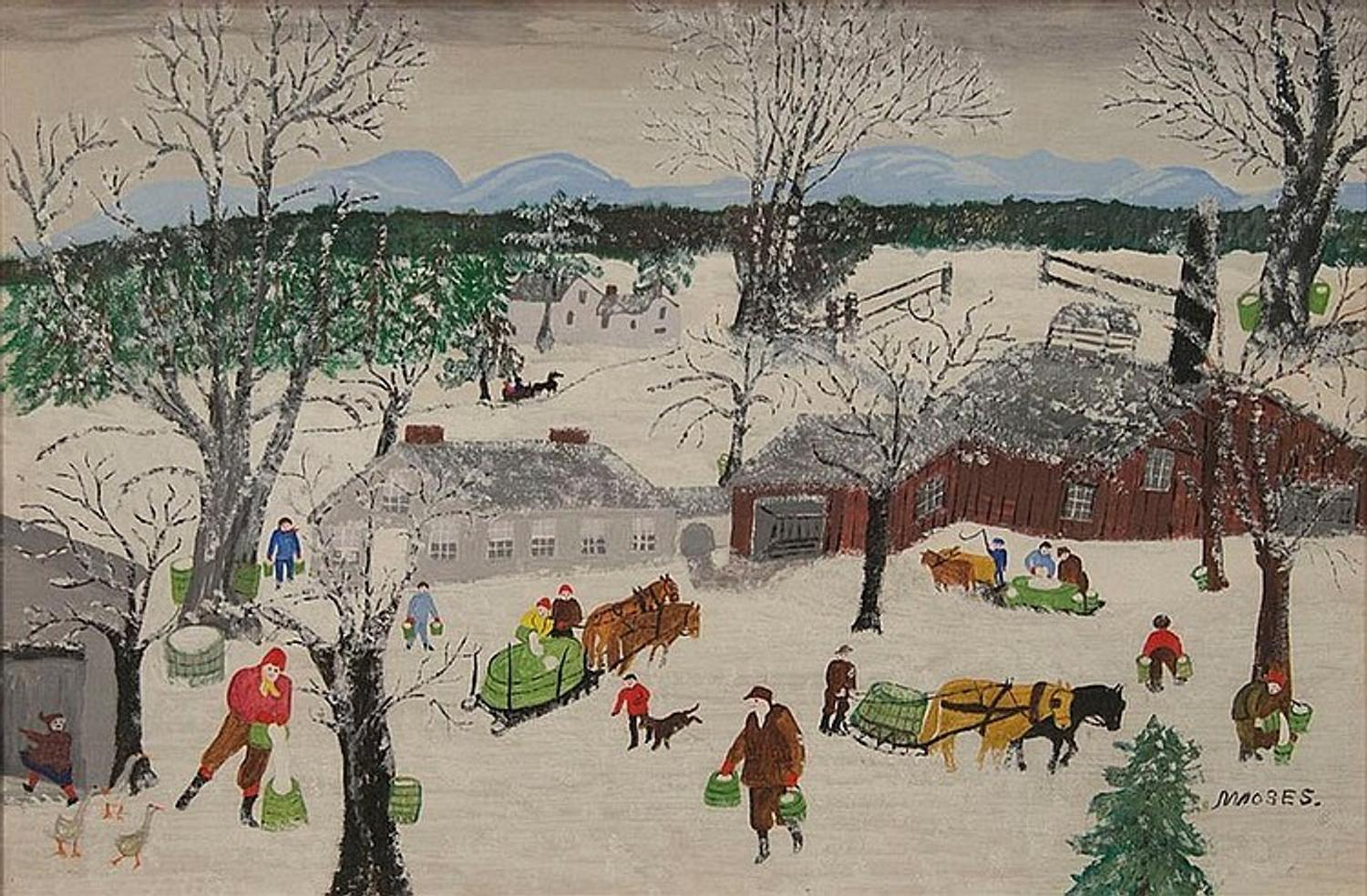 Painting By Grandma Moses 1860 1961 Titled Sap
