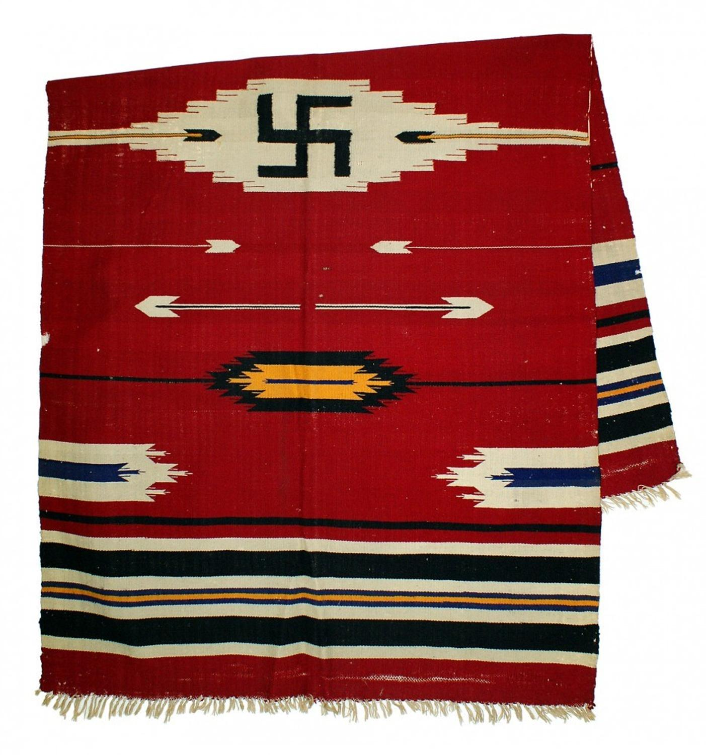 Navajo indian designs Navajo Blanket Antique Navajo Blanket With Swastika Design American Plains Indian Pipe Tomahawk Will Lead Mohawk Arms Auction 73 Art Fix Daily Antique Navajo Blanket With Swastika Design American Plains Indian