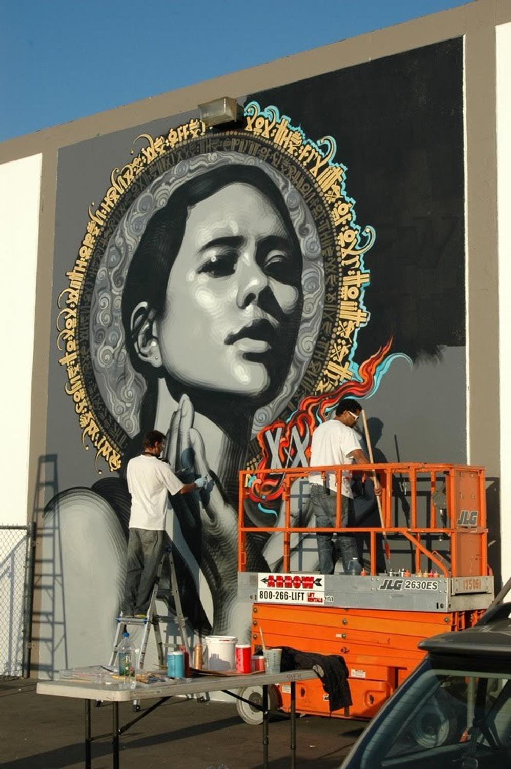 legendary street artists mear one  kofie  retna  and el mac give live art performance daily at