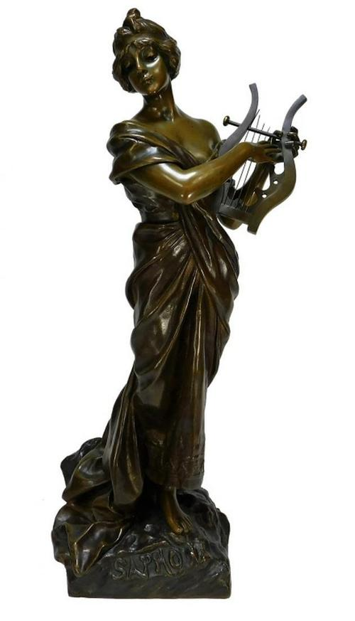 Finely cast sculpture of the Greek poet Sapho by Emmanuel Villanis (French, 1858-1914), on a base and with an overall height of 28 ½ inches (est.  $2,500-$4,000).