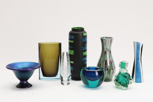 Group of art glass and pottery articles comprising three earthenware vases, glass ashtray, glass scent bottle with stopper, two vases and pedestal bowl, to be sold as separate lots.