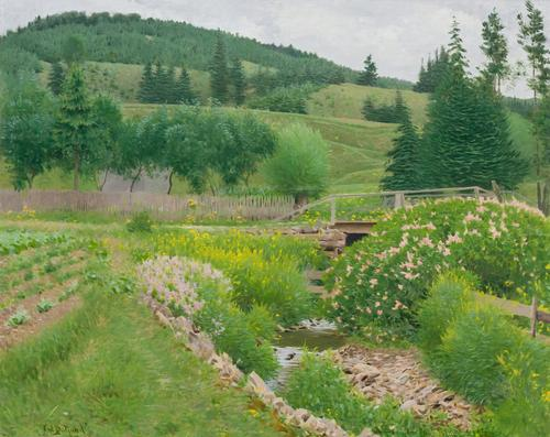 "Lot 7 FRANK VINCENT DUMOND American (1865-1951) Field in Spring oil on canvas, signed ""F.V.  Dumond"" lower left"