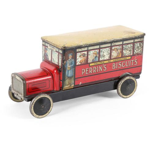 "Perrin's Biscuits figural tin, branded ""Perrin's Biscuits – Halifax to Vancouver"", produced in England and branded for the Canadian market (est.  $1,500-$2,000)."