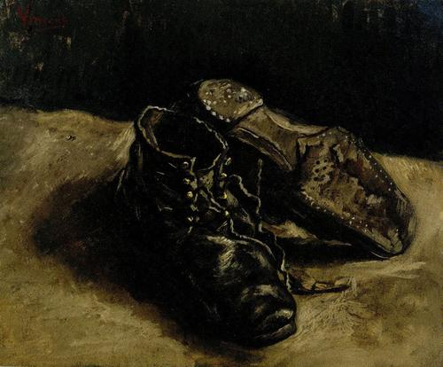 Vincent Van Gogh, A Pair of Shoes, One shoe upside down, 1887, oil on canvas, Private Collection