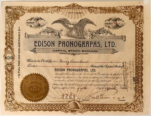 Stock certificate for Edison Phonographs, Ltd., issued on April 5, 1922 to Henry Lanahan for one share and signed by Thomas Edison himself, as president (est.  $2,000-$4,000).
