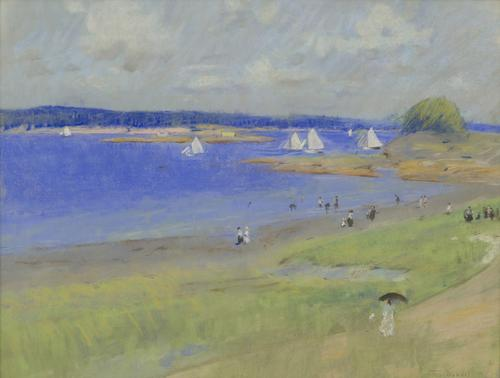 'Gloucester Harbor, Massachusetts,' 1894, by Theodore Wendel (1859-1932), pastel on paper, 20 x 26 inches, signed and dated lower right: 'Theo.  Wendel 94'