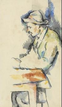 Paul Cezanne, Joueur de cartes, watercolor on laid paper, 18 5/8 x 12 in.  (46.7 x 30.5 cm.) Painted in 1892-1896.