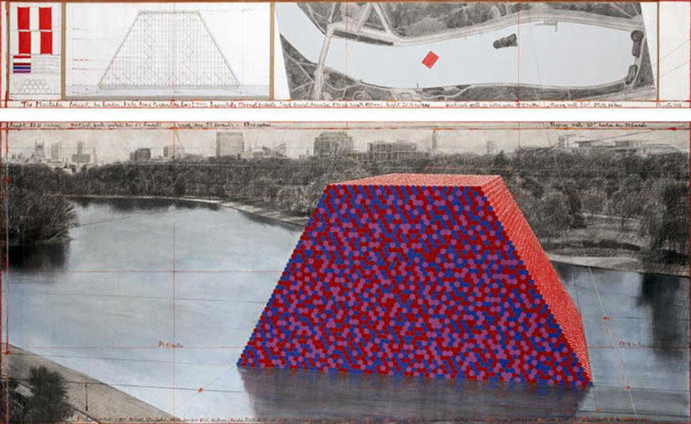 "Christo The Mastaba (Project for London, Hyde Park, Serpentine Lake) Drawing 2018 in two parts 15 x 96"" and 42 x 96"" (38 x 244 cm and 106.6 x 244 cm) Pencil, charcoal, wax crayon, enamel paint, hand-drawn map on vellum, technical data, mylar and tape Photo: André Grossmann © 2018 Christo"