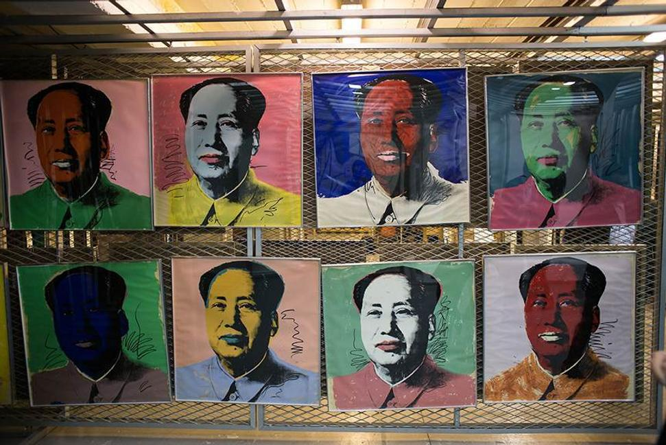Andy Warhol's Mao Zedong series of portraits in the Tehran Museum of Contemporary Art vault.