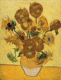 Sunflowers, 1889, by Vincent van Gogh (1853-1890).  Oil on Canvas, 95 x 73 cm.  Van Gogh Museum, Amsterdam