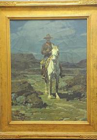 "Frank Tenney Johnson's ""Trooper on Guard"" given to the library in Bridgewater, Mass.  in the 1960s."