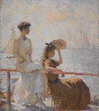 Frank Weston Benson (1862-1951) Summer Day, 1911.  Oil on canvas, 36 1/8 x 32 1/8 in.  (91.8 x 81.6 cm).  Courtesy Crystal Bridges Museum of American Art, Bentonville, Arkansas.  Photography by Dwight Primiano.  © Estate of Frank Weston Benson / Licensed by Faith Andrews Bedford, St.  Petersburg, FL