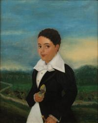 Julien Hudson, 1811-1844 American.  Creole Boy With A Moth, 1835, oil on canvas, courtesy of a private collection; photo courtesy of Fodera Fine Art Conservation, Ltd.