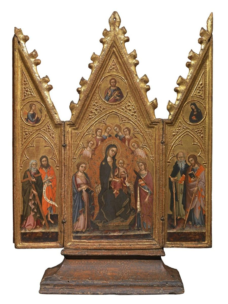 Master of The Richardson Triptych (Siena c.  1370-1415) Enthroned Virgin and Child with Angels and Saints; the Redeemer; the Annunciation.  Tempera on panel.  30½ x 229/16 in, 77.5 x 57.4 cm open.
