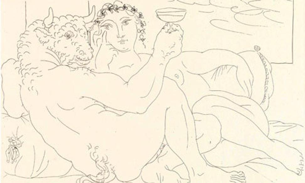 One of the Picasso etchings in the Vollard suite, showing a Minotaur with a young woman, a new acquisition of the British Museum.