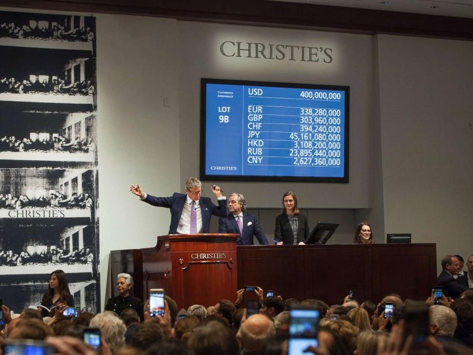 Auctioneer and Global President Jussi Pylkkanen shown selling Leonardo da Vinci's Salvator Mundi.