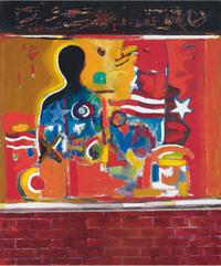"David Driskell, ""Ghetto Wall #2,"" 1970.  Oil, acrylic, and collage on linen, 60.0 × 50.0 (in).  DC Moore Gallery, at Art Basel Miami Beach, Survey, S6."