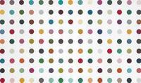 "Damien Hirst (b.  1965) Rubidium Chloride.  household gloss on canvas, 51 1/8 x 87 1/8 in.  Estimate: $600,000 - $800,000.  At Christie's ""Open Sale,"" March 7 in New York.  © Damien Hirst/ Science Ltd, 2012.  Photography Prudence Cuming Associates."