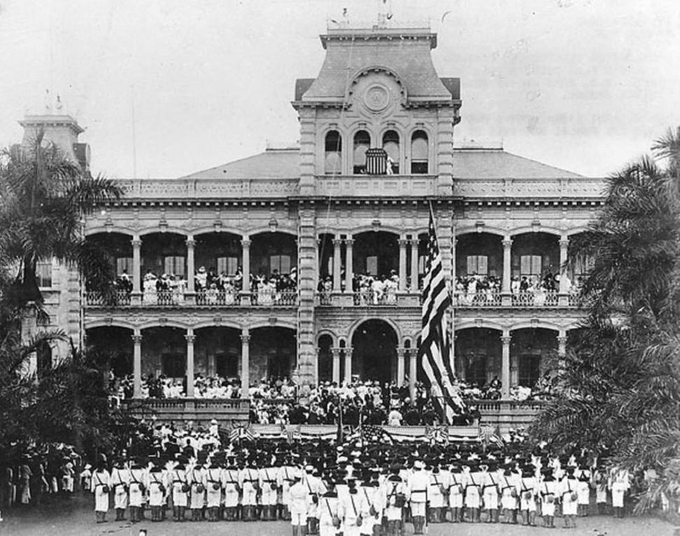 Raising American Flag at United States Annexation Ceremony at ʻIolani Palace, Honolulu, Hawaii.  The American marines performing the ceremony are from the USS Philadelphia.  Collection: Ray Jerome Baker Collection.  1898.