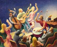 "Thomas Hart Benton, ""Youth Music - Study"", 1973.  Oil on board, 14 ¼ x 17 ¾ inches."