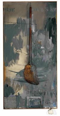 Jasper Johns, Fool's House, 1962.  Oil on canvas with broom, sculptural towel, stretcher and cup.  182.9 x 11.4 cm.  Private collection, on loan to Walker Art Center, Minneapolis © Jasper Johns / VAGA, New York / DACS, London 2017.