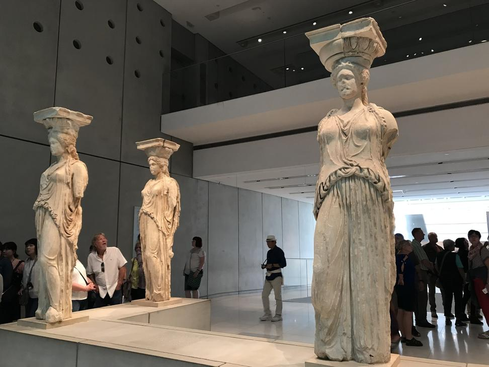 View of the Korai in the Acropolis Museum, with space for the one at the British Museum.