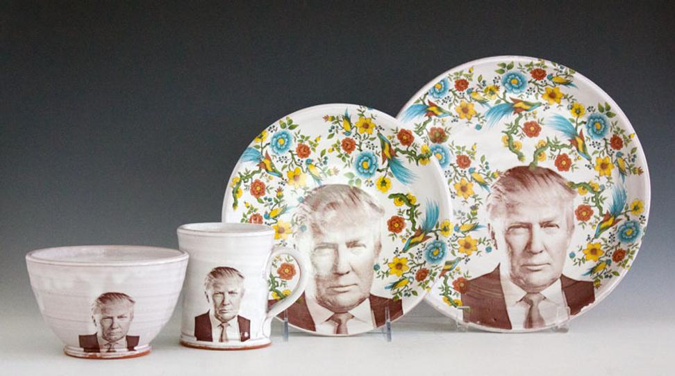 "Justin Rothshank, Donald Trump Tableware Set, 2016 earthenware, glaze, ceramic decals 9"" H x 20"" W x 6"" D.  At Ferrin Contemporary's exhibition Know Justice: Justin and Brooke Rothshank, on view at the NY Ceramics & Glass Fair."