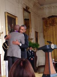 President Obama congratulates dancer/choreographer Bill T.  Jones after presenting Jones with the 2013 National Medal of Arts at a White House ceremony.  Photo by NEA Staff