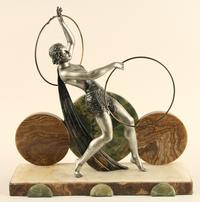 J.  Dauvergne (French, 19th/20th Century) An Art Deco Spelter figure of a female on onyx base circa 1920.  Sold on 1/12/19 for $500.