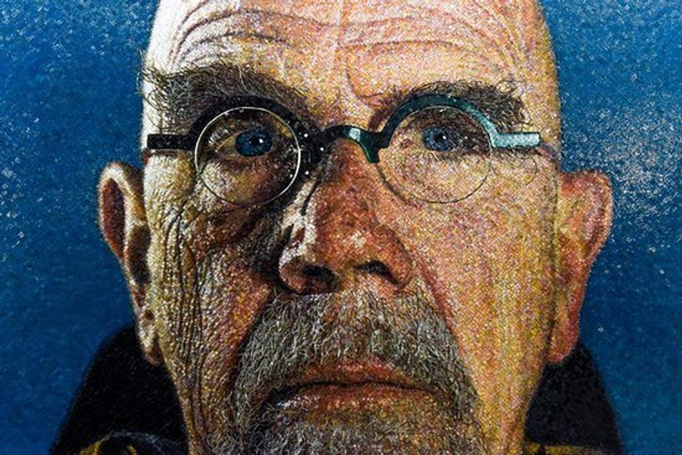 Chuck Close self-portrait, 86th St.  Station, NYC