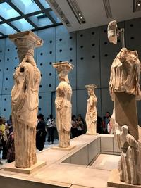 A spot remains open for a missing marble caryatid, in the form of a maiden (Korai), in the Acropolis Museum.  The missing original is in the British Museum.