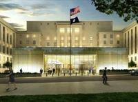 Rendering of United States Diplomacy Center pavilion, 21 St.  entrance.