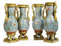 Set of four 18th-century Chinese vases bought by Steve Wynn at Christie's on July 7.