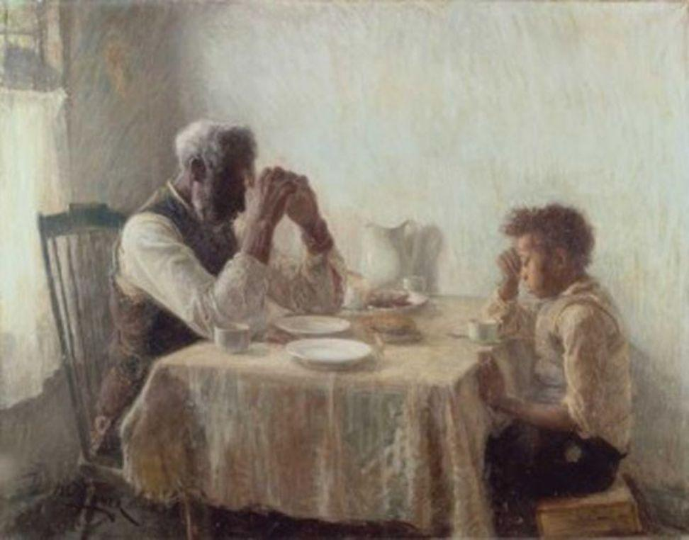 "Part of the William H.  and Camille O.  Cosby Collection, this oil on canvas work by Henry Ossawa Tanner is titled ""The Thankful Poor."""