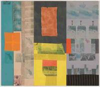 "Robert Rauschenberg's ""Global Loft (Spread),"" from 1979.  Solvent transfer on fabric and paper collage to wooden panels with acrylic paint, three metal brushes.  (The Huntington Library, Art Collections, and Botanical Gardens.  © The Estate of Robert Rauschenberg/Licensed by VAGA, New York.  Photograph by Robert McKeever."