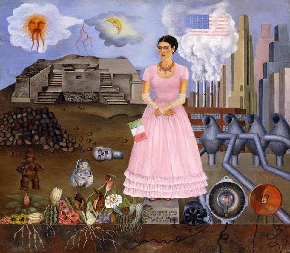 Self-portrait on the Border between Mexico and the United States of America, Frida Kahlo, 1932.  © Modern Art International Foundation, Courtesy María and Manuel Reyero.