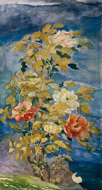 John La Farge, Peonies in a Breeze, 1890.  Watercolor and gouache on paper.