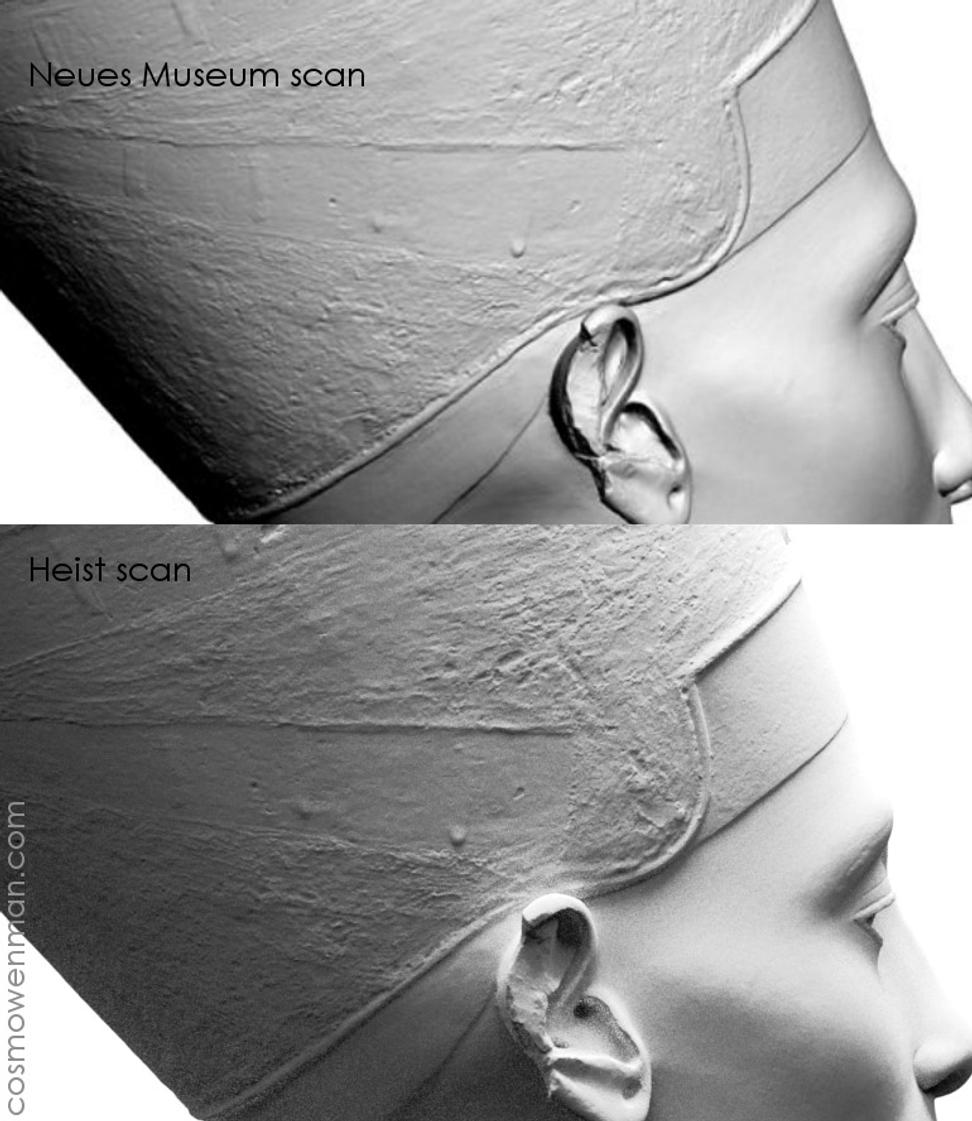 3D scans of Nefertiti bust, screen capture from TrigonArt and artists' version, via Cosmo Wegman