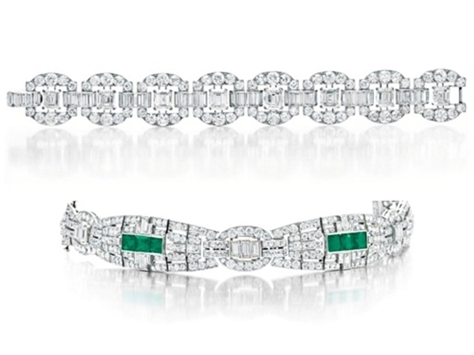 Huguette Clark wore these two bracelets in her last known photograph, taken in 1930.  The diamond and emerald bracelet is valued between $20,000 and $30,000; the other is estimated at $300,000 to $500,000.